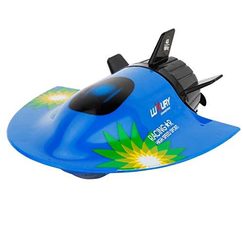 AIOJY Sommer Wasserschiffe Spielzeug Verhindern Wassereintritt Modell Aufladbare Simulation 4 Kanäle RC Fernbedienung Boot Spielzeug Boot Mini 2,4 GHz U-Boot Schnellboot Kind (Color : Blue)