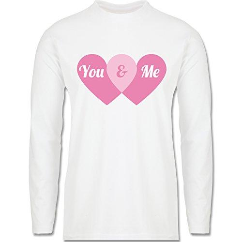 Romantisch - You & Me Herzen - Longsleeve / langärmeliges T-Shirt für Herren Weiß