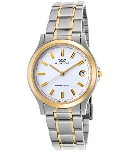 Glycine 3690–31-sap-mb da uomo in acciaio INOX e gold-tone orologio in acciaio inossidabile quadrante bianco SS