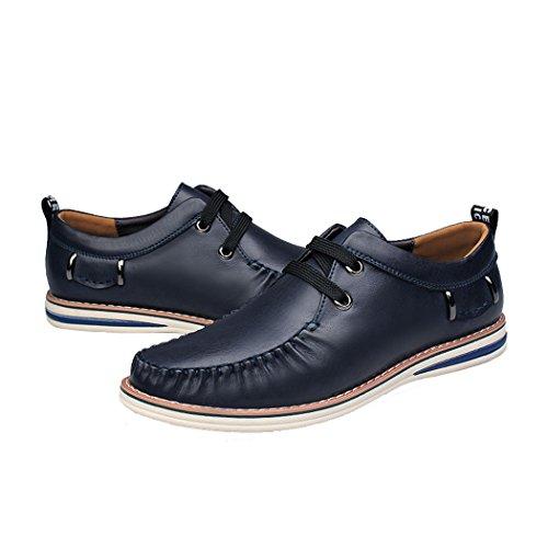 Spades et clubs pour homme tendance printemps style italien en cuir véritable de moulage Vogue Chaussures souple Casual Mocassins. Bleu