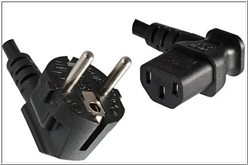DINIC Stromkabel, Netzkabel CEE 7/7 auf C13 90 Grad abgewinkelt, 3-polig (1,80m, rechts gewinkelt, schwarz) - Stromkabel Winkel Computer