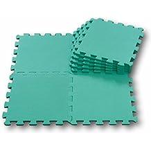 Alfombra puzzle de goma EVA para niños. 9 piezas. 90 x 90 x 1 cm. Verde