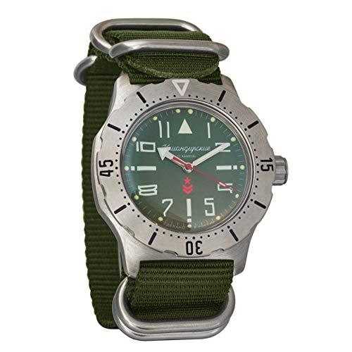 Vostok Komandirskie k-35 - Reloj automático de Pulsera Verde Militar Ruso Zulu NATO Band # 350746