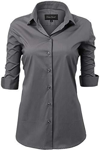 INFLATION Damen Hemd mit Knöpfen Baumwolle Bluse Halbarm 3/4 Ärmelshirt Figurbetonte Hemdbluse Business Oberteil Arbeithemden Grau 34/6