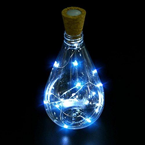 LED Lichterkette, Pak _ Youth 15Köpfe Kork Form LED Nacht Licht Starry Wein Flasche Lampe für Party Colorful, ABS, B, 75 cm (Wein Grüne Streifen)