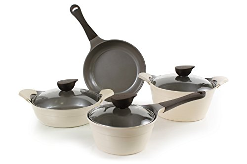 Neoflam Eela Cast 7-Piece Aluminum Cookware Set, Ivory