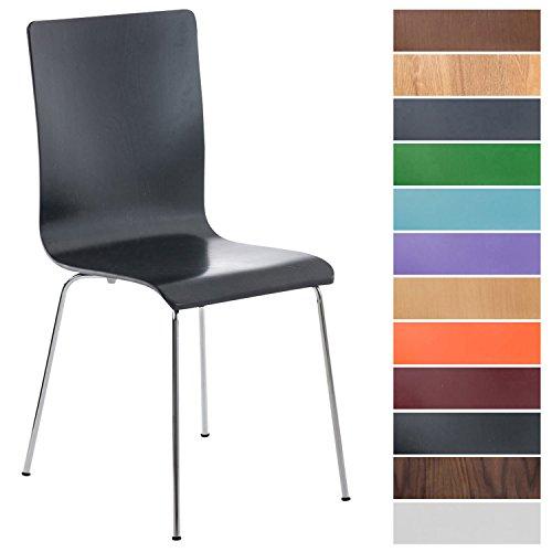 CLP Wartezimmerstuhl Pepe mit ergonomisch Geformten Holzsitz und stabilem Metallgestell I...