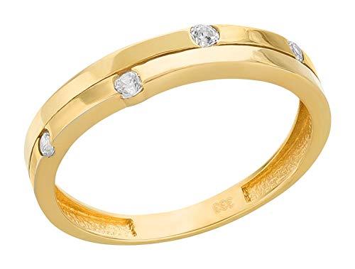 Ardeo Aurum Damenring aus 333 Gold Gelbgold mit Zirkonia im Brillant-Schliff Verlobungsring