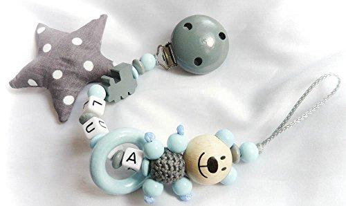 Baby Schnullerkette Teddy für Jungen mit Wunschnamen - Kinder - Geschenk zur Geburt, Taufe - Länge: max. 22cm (ohne Clip)