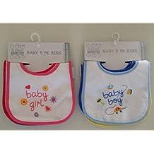 Pack de 5baberos para bebe–rosa o azul algodón y plástico palabras en inglés