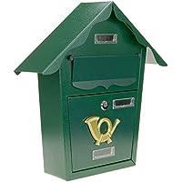PrimeMatik - Buzón metálico para Cartas y Correo Postal de Color Verde 366 x 100 x 370 mm
