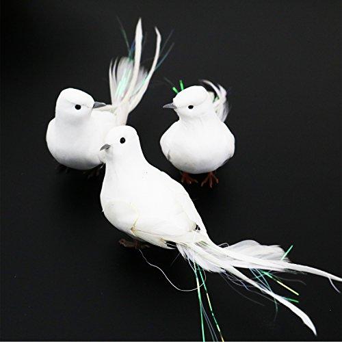 buorsa 3Fake langem Schwanz Tauben Künstliche Vögel Foam Feder weiß mit Füßen, dekorativen Craft Vogel für Home Ornaments, Hochzeit Decor -