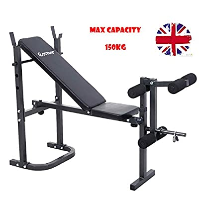 Folding Weight Bench Multi Gym Exercise Dumbell Sit up Workout Leg Bar Preacher Curl Incline & Decline Home from Costway