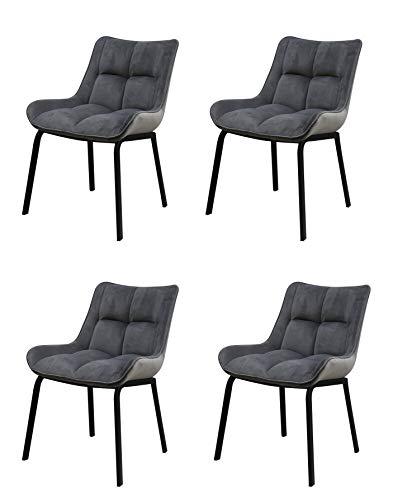 Meubletmoi Lot DE 4 - Chaises Velours Gris capitonnées Pieds métal- Premium Collection & Design Contemporain - Plum