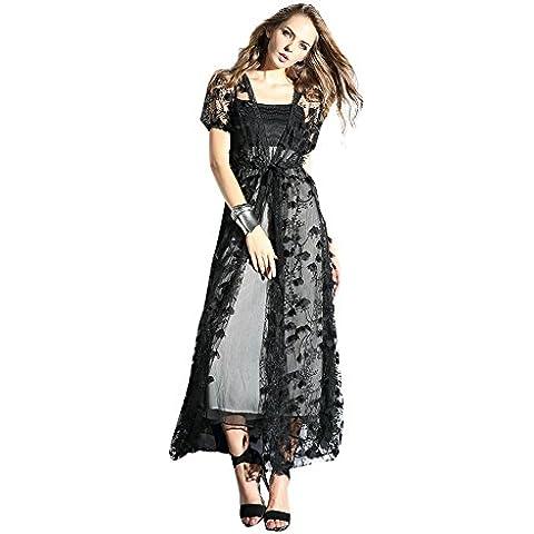 Oulu Mujeres 2016 nuevo diseñador vestido de Negro con las flores de corte ropa de sport 272700