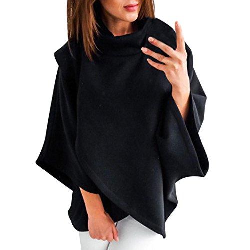 Poncho Damen, DoraMe Frauen 3/4 Ärmel Pullover Lässig Feste Farbe Bluse Hoher Kragen Stehen SweatshIrt Winter Warme Hemd (Schwarz, M) (Spandex Farbe Weiße)