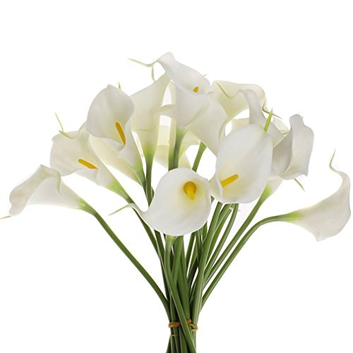 Generic Calla Lily Flowers Bridal Wedding Party Home Decortion Bouquet Latex Real Touch Flower Bunch Artificial Flowers 10 Pack -