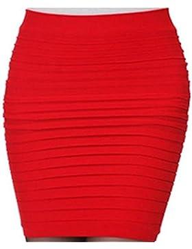 Oderola Mujeres Faldas Cortas Elástico de Cintura Alta Falda Corta Plisada Cadera del Paquete,15 colores