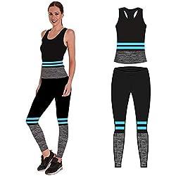 Bonjour Vêtements de Sport pour Femme avec Gilet et Court et Leggings (Lot de 2 pièces Haut et Leggings) Stretch Fit Yoga Gym Wear Set, Turquoise Stripe Vest Top, One Size (UK 8-14)