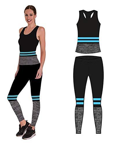 Unbekannt Bonjour Damen Sportswear Wear/Weste und Crop Top & Leggings (2 Stück), Stretch-Fit, Yoga Gym Wear Set, Turquoise Stripe Vest Top, One Size (UK 8-14)