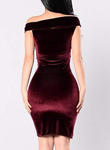 Azbro Women's off Shoulder Bodycon Mini Solid Dress Burgundy