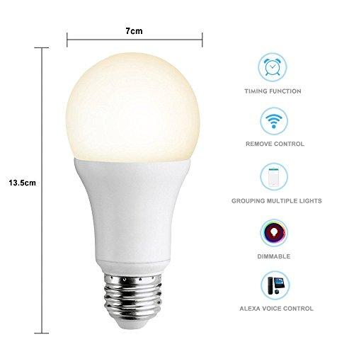 Smart LED Wifi lampe,MEAMOR 7W Dimmbar Glühbirne RGB+Warmweiß E27 Birne Mit Alexa und Google Home,Steuerbar via App,60W äquivalent[Energieklasse A+] - 5