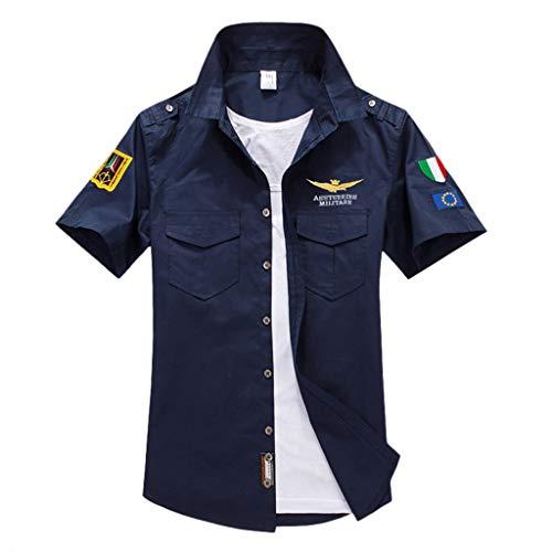 Hemd Herren Kurzarm GreatestPAK Hemden Pocket T Shirt Einfarbig Stickerei Casual Oberteile Tops,Dunkelblau,EU:XXXL(Tag:6XL) - Vans Palmen