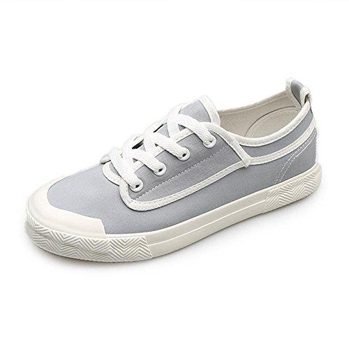 Heart&M Damen Low Top flache Unterseite Lace-Up Casual Schuhe Flats gray