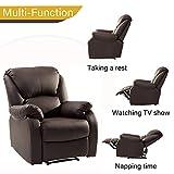LENTIA Relaxsessel Liegesessel Ruhesessel aus Kunstleder Relax Sessel Loungesessel für Wohnzimmer Fernsehsessel mit Liegefunktion Tragfähigkeit 150 kg 77 x 103 x 70 cm (Braun) - 6