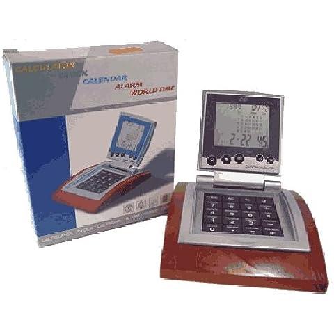 Calculadora de sobremesa con calendario, reloj, alarma y horario mundial