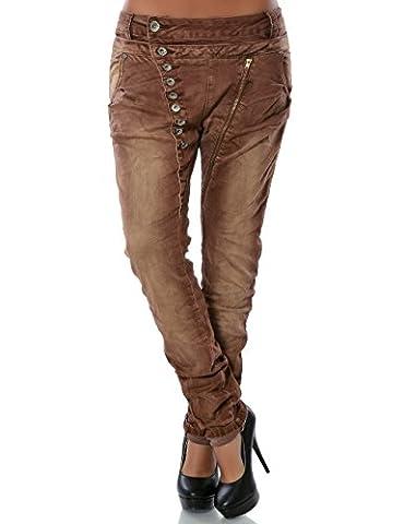 Damen Boyfriend Jeans Hose Reißverschluss Knopfleiste (weitere Farben) No 14145, Farbe:Braun;Größe:38 / M