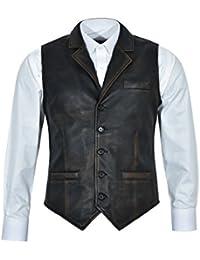 Chaleco negro envejecido 1349 de los hombres del vintage Chaleco elegante afligido 100% del cuero real del 100%