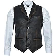 Smart Range Chaleco Negro Envejecido 1349 de los Hombres del Vintage Chaleco  Elegante afligido 100% 8b63d2858f45