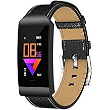 Opta SB-059 Leather Heart Rate Monitor Smart Watch (Black)