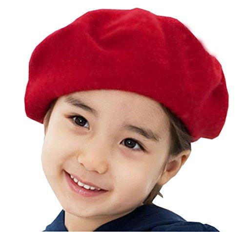 Wolle Beret Hut Beanie Cap - Kinder Mädchen Jungen Französisch Stil Klassisch Einfarbig Kunst Winter Herbst Hut Baskenmütze (Rot)