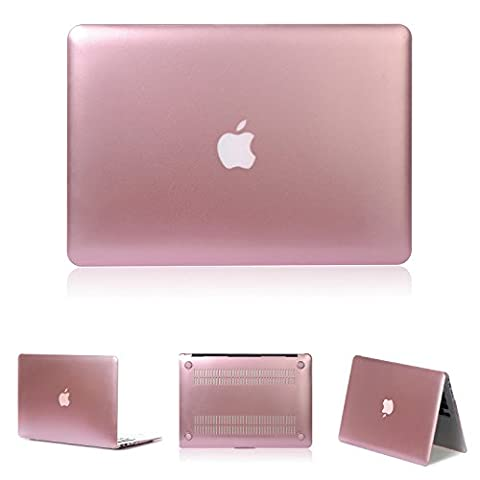 tinxi® Zweiteilige Matte Gummierte Harte Schutzhülle für Apple Macbook Air 13,3 Zoll (A1369 A1466) Laptop Hülle Cover Schale Schutz Tasche Etui Case Shell Hard Plastik Rosegold