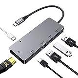 Hub USB C 6 in 1, Adattatore multiporta in Alluminio con HDMI 4K, 3 USB 3.0, 2 USB-C (Ricarica Rapida e trasferimento Dati) Samsung Dex Station Tipo C per MacBook PRO,MacBook Air, Samsung S9