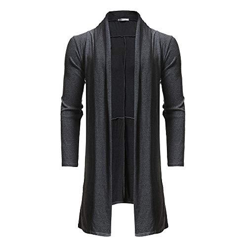 Riou Herren Strickjacke Cardigan Open Jacke Knit Beiläufige Dünne Mantel Sweatshirt Sweatblazer Männer Beiläufiger Reiner Farben Mantel Schal zufälliger Längen Gestrickter Mantel (M, Grau)