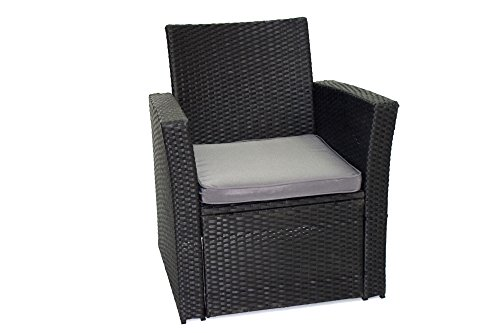 poly rattan gartenm bel gartengarnitur balkonm bel set gm11pra schwarz sedifras. Black Bedroom Furniture Sets. Home Design Ideas