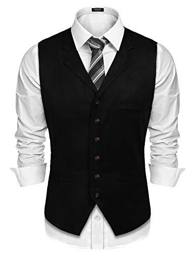 Burlady Herren Western Weste Herren Anzug Weste V-Ausschnitt Ärmellose Westen Slim Fit Anzug Business Hochzeit (XL, G2-Schwarz)