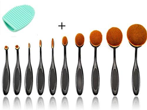Beauté Royaume 10 pcs Brosse à dent Motif forme Elite ovale Maquillage Fond de teint poudre Brosse Eyeliner lèvre ovale Brosse de beauté Cosmetics Tools-makeup kit avec boîte de Coque