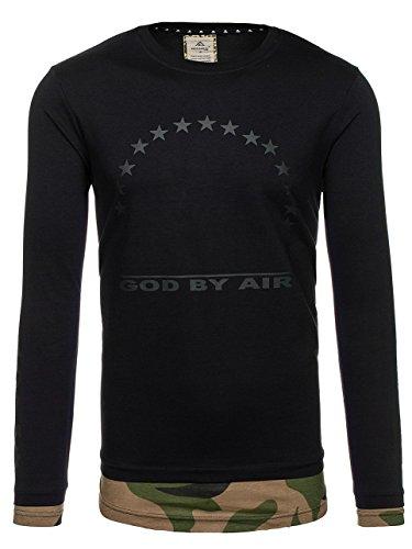 BOLF Herren Sweatshirt Langarmshirt Pullover Pulli Army Classic 1A1 Motiv Schwarz_0905