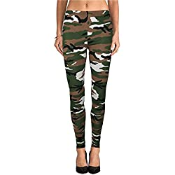 New Womens Ladies ejército camuflaje impresión Leggings tamaño: 8 10 12 14 multicolor multicolor M/L (40-42)