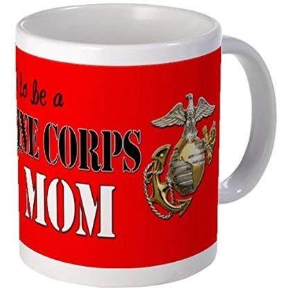 11 ounce Mug - Proud Marine Mom Dog Tags Mugs - S White