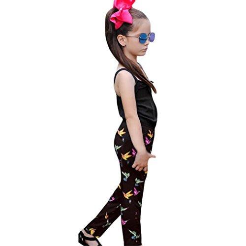 Modische Kleinkind-mädchen (Für 0–5Jahren Mädchen Outfits, janly® Kleinkind Kids Baby Bird Pattern Strampler Jumpsuit Hose Sommer Kleidung, schwarz, 3-4 Jahre)
