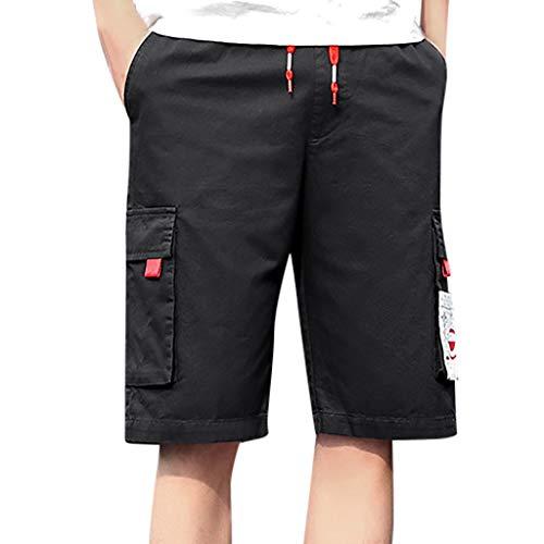 Xmiral Herren Cargohose mit Elastischer Taille Einfarbig Sommer Shorts Große Größe Sports Training Fitness Beachshorts Badehose(C Schwarz,M) -