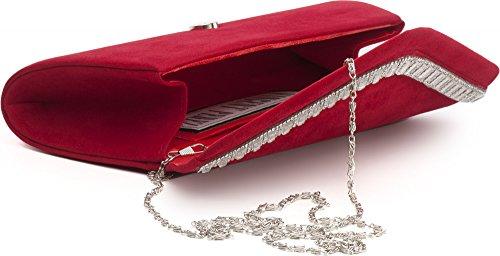 VINCENT PEREZ Borsetta, Borsa a tracolla, Pochette di raso con strass e tracolla rimovibile (120cm) rosso