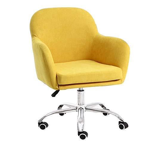 Stühle MEI Nordic Swivel Computer Abnehmbarer und waschbarer Stoff Einfache Freizeit Sessel Schlafzimmer Sofa Sessellift Bürostuhl nach Hause (Farbe : Gelb)