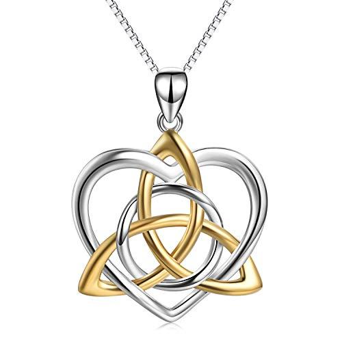 Keltischer Knoten Anhänger Halskette Sterling Silber Good Luck Vintage Love Herz Triquetra Irish Celtics Halskette Schmuck für Frauen Mädchen -