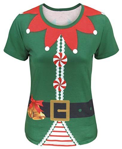 COSAVOROCK Damen Weihnachten Elfe Kostüm T-Shirts (M, Grün) (Für Erwachsene Santa's Grüne Helfer Weihnachten Kostüm)